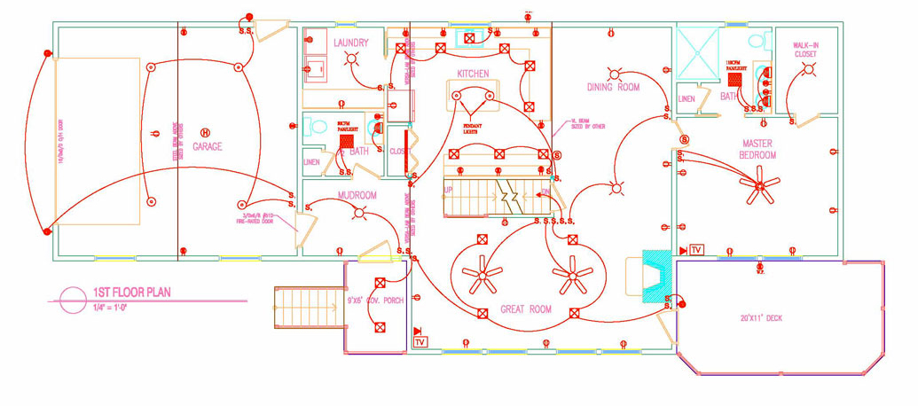 Electrical layout autocad images for House electrical design